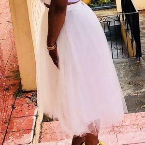 Asos multilayer toile skirt-white